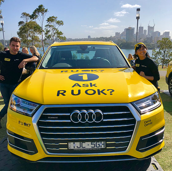 RUOK Day Tom and Lisa with Convoy Car FB